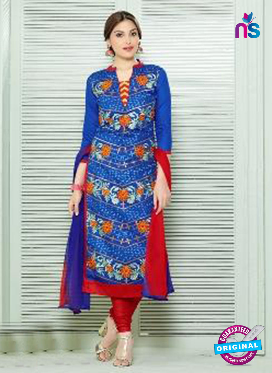 SC 13836 Blue and Red Glace Cotton Designer Fancy Exclusive Straight Pakistani Suit