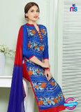 SC 13836 Blue and Red Glace Cotton Designer Fancy Exclusive Straight Pakistani Suit Online