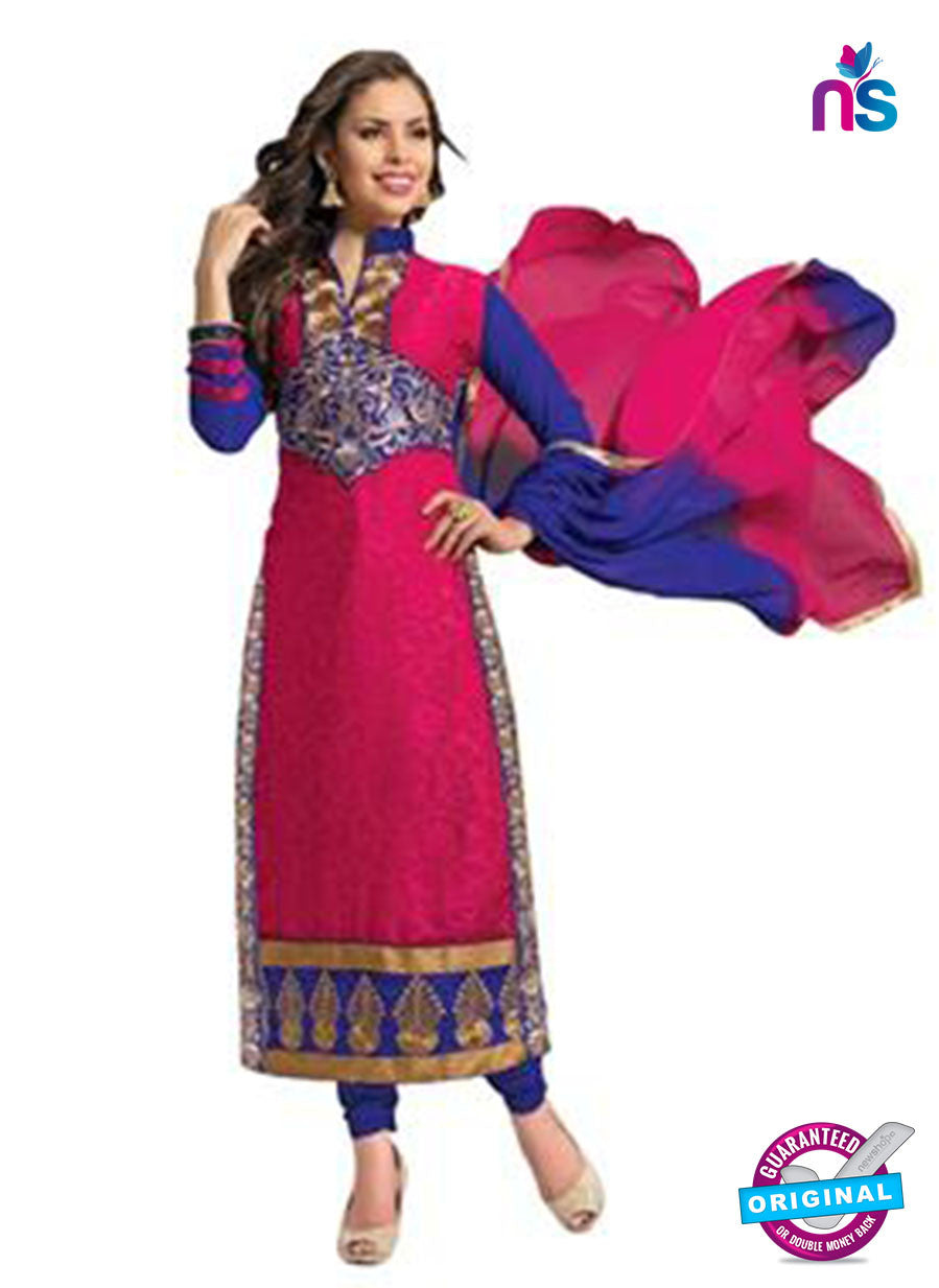 NS12260 Pink and Blue Straight Suit