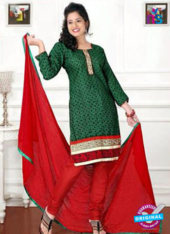 NS12213 Green and Red Chudiddar Suit