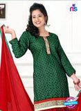 NS12213 Green and Red Chudiddar Suit Online