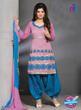 SC 13192 Pink and Blue Party Wear Chanderi Patiala Suit