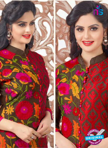 SC 13971 Brown and Red Party Function Wear Designer Straight Suit