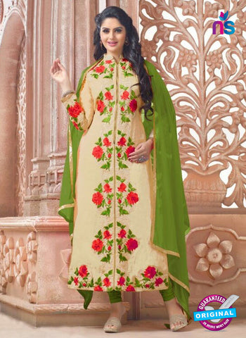 SC 13968 Beige and Green Chanderi Fancy Party Wear Designer Straight Suit