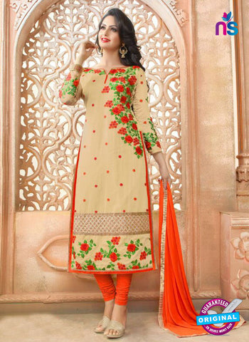 SC 13972 Beige and Orange Party Function Wear Designer Straight Suit