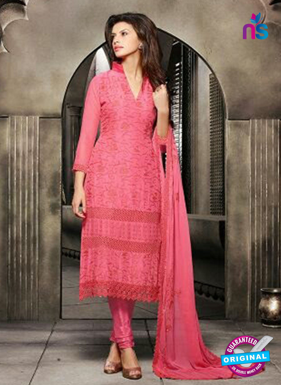 NS10560 Red Embroidered Chiffon Straight Suit