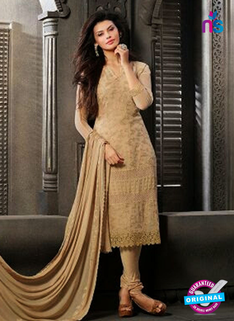 NS10561 Brown Embroidered Chiffon Straight Suit