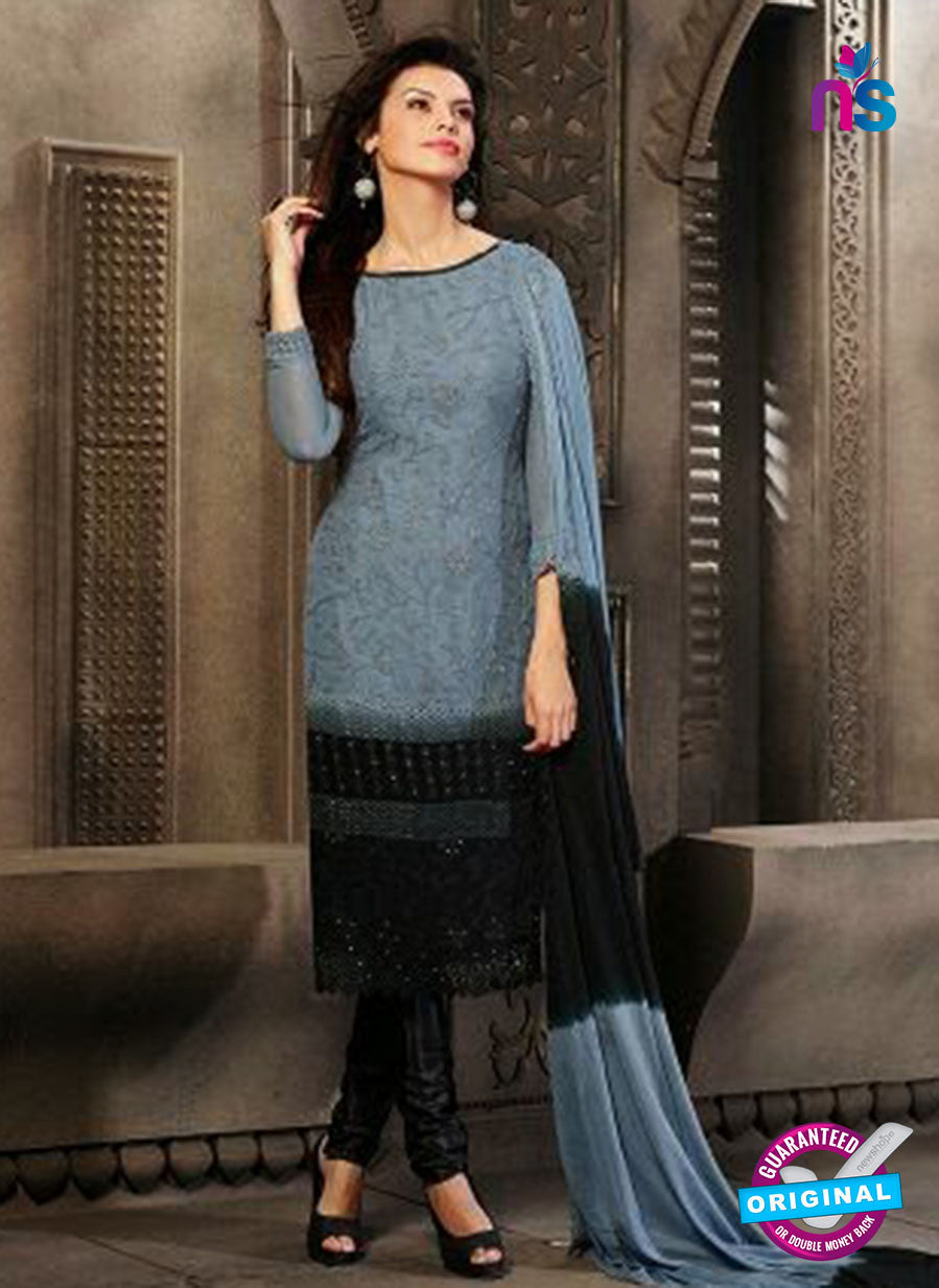 NS10562 Grey and Black Embroidered Chiffon Straight Suit