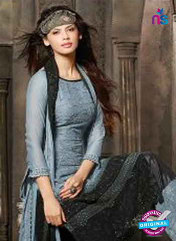 NS10562 Grey and Black Embroidered Chiffon Straight Suit Online
