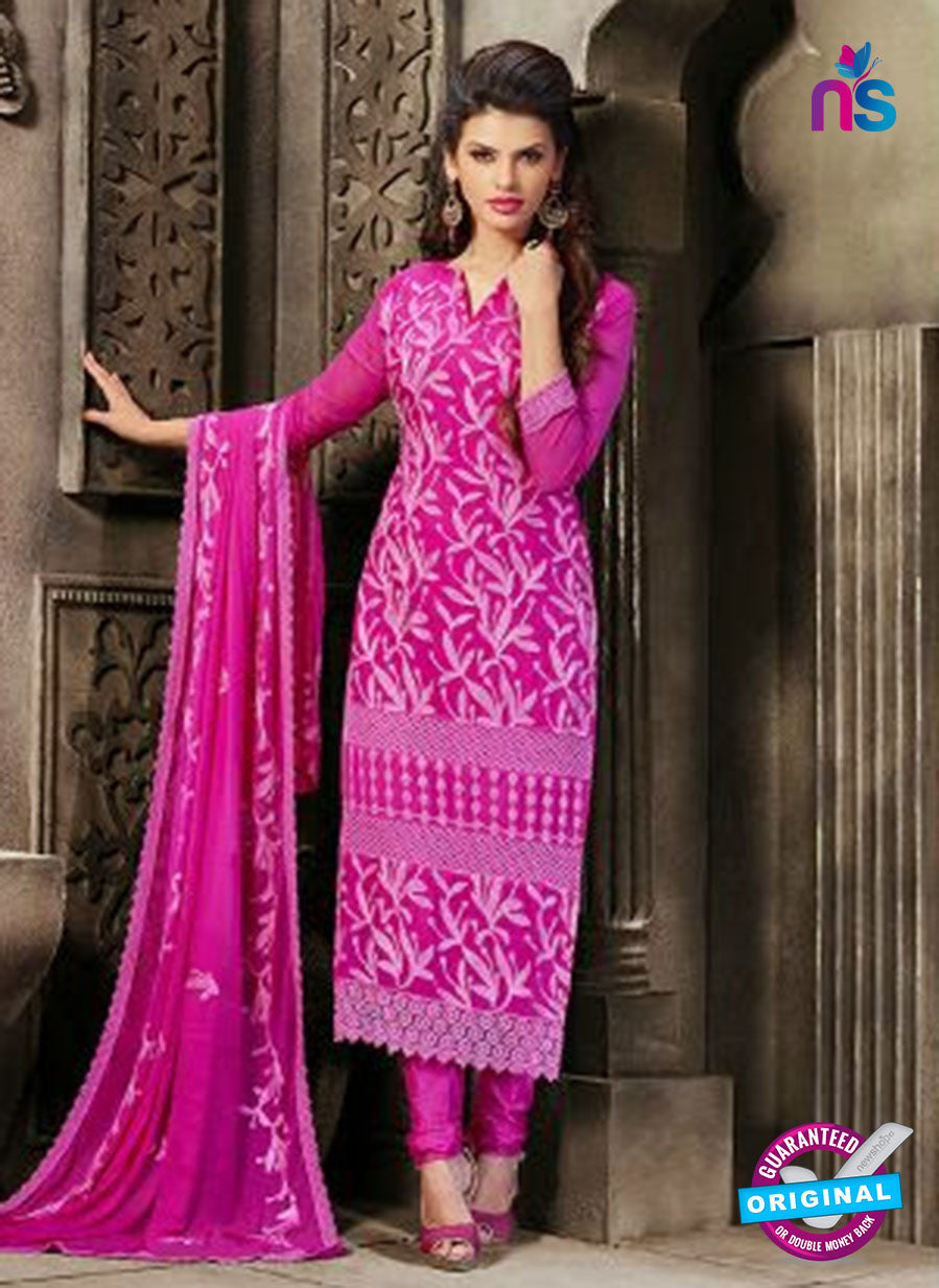 NS10563 Magenta Embroidered Chiffon Straight Suit