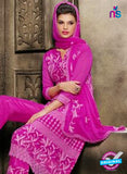 NS10563 Magenta Embroidered Chiffon Straight Suit Online