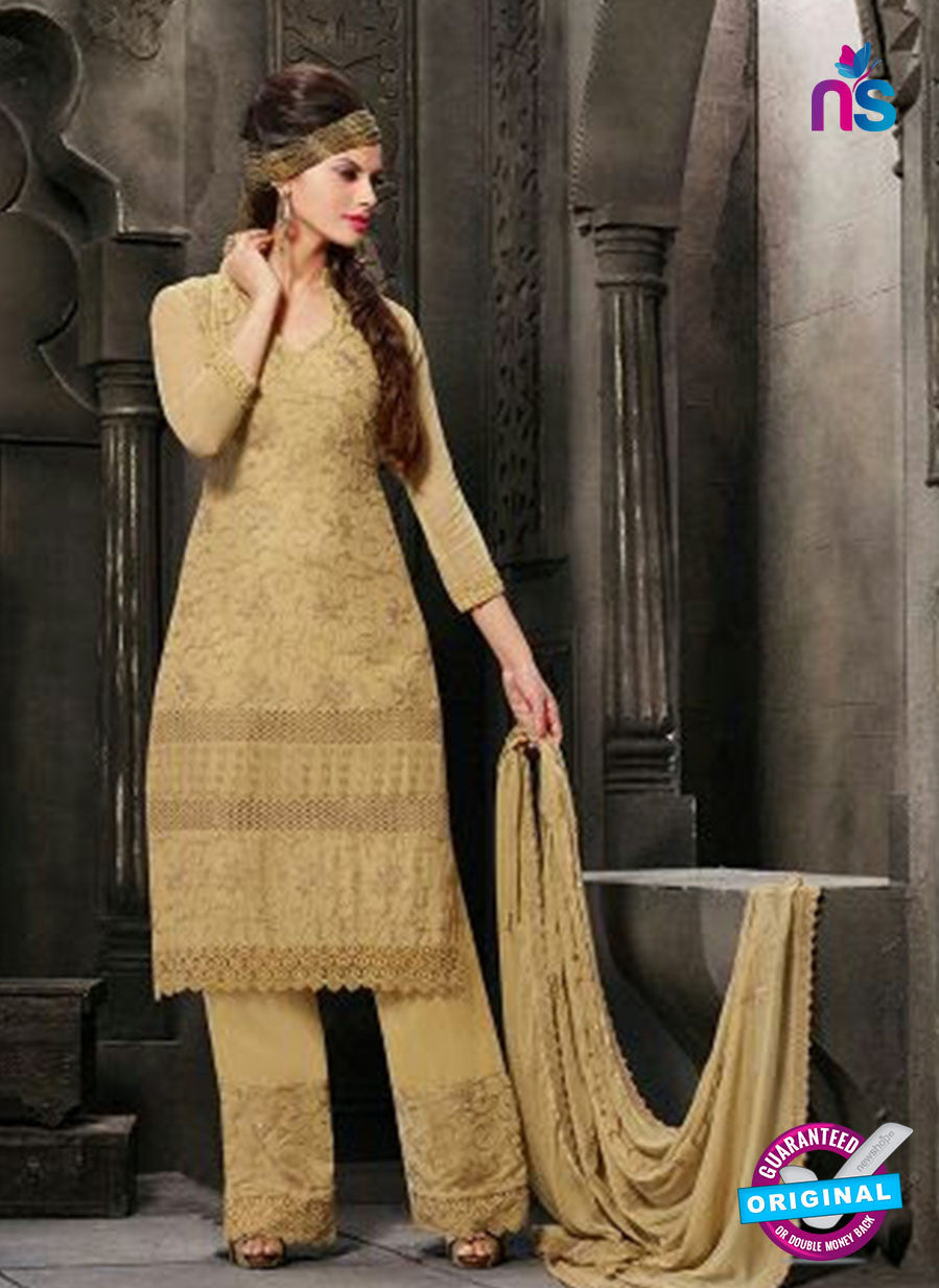 NS10564 Beige Embroidered Chiffon Straight Suit