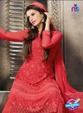 NS10565 Red Embroidered Chiffon Straight Suit