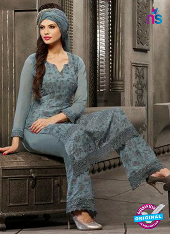 NS10566 Grey Embroidered Chiffon Straight Suit