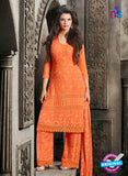 NS10567 Orange Embroidered Chiffon Straight Suit