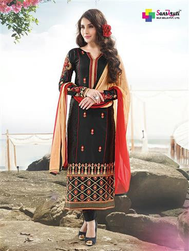 NS11893  Black and Red Satin Cotton Straight Suit