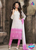 NS10568 White and Pink Embroidered Chiffon Straight Suit