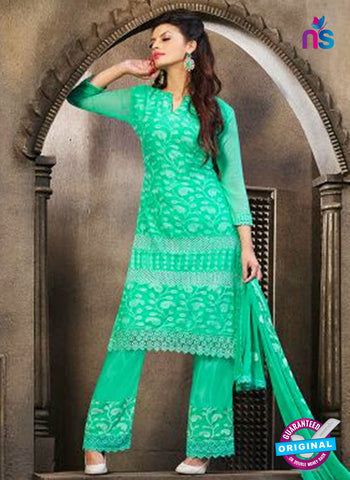 NS10569 Green Embroidered Chiffon Straight Suit