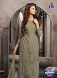 NS10570 Grey Embroidered Chiffon Straight Suit