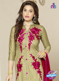 SC 14208 Mehandi Green Cotton Pakistani Suit