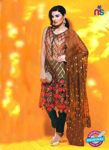 SC 14100 Brown Faux Georgette Pakistani Suit