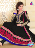 NS10939 Black and Deep Pink Georgette Anarkali Suit