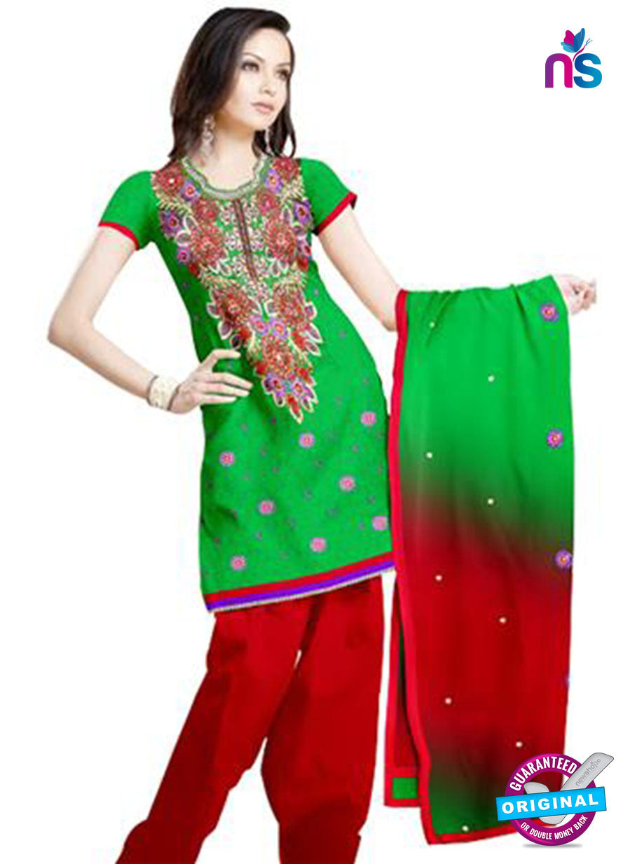 NS12214 Green and Red Georgette Jacquard Dress Material