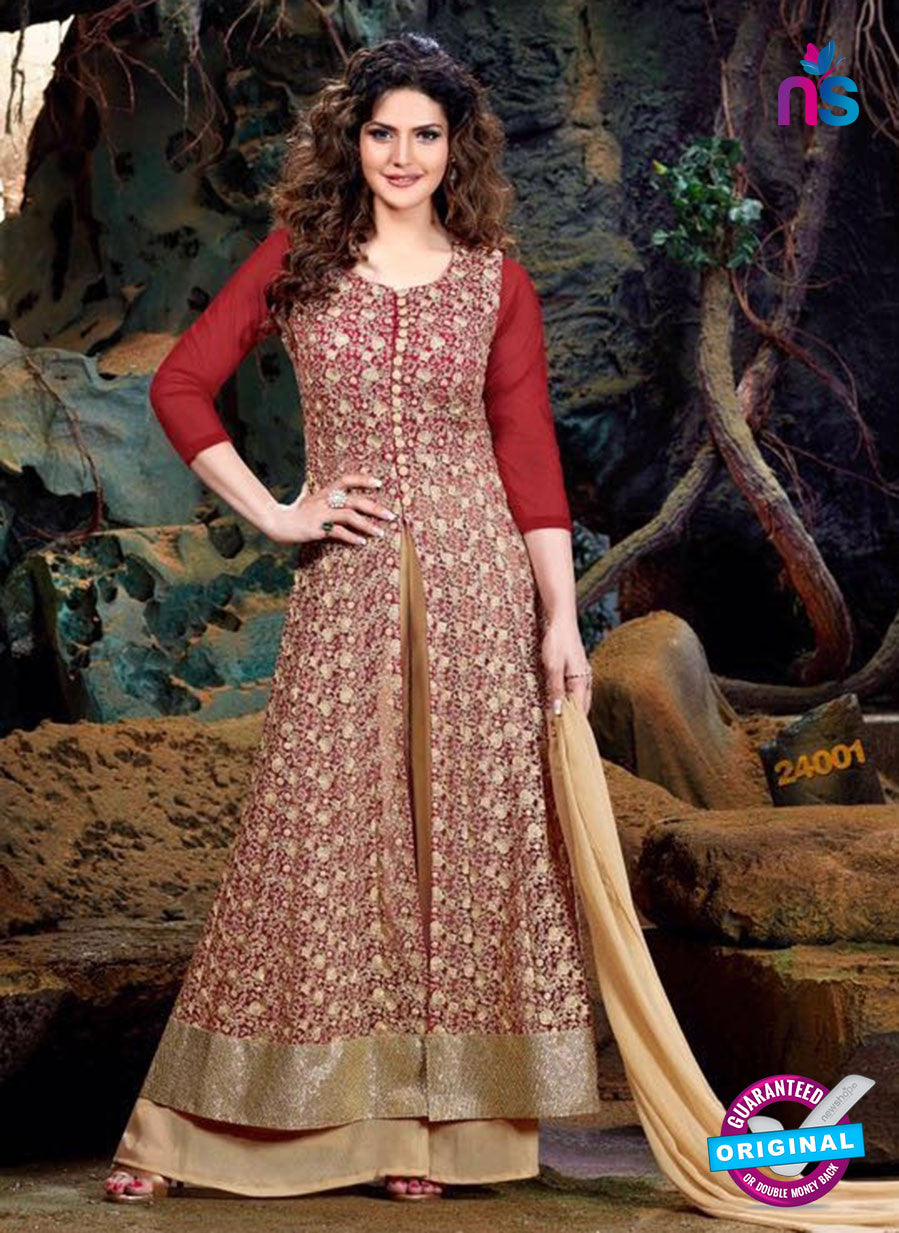 SC 12842 Red and Golden Semi Georgette Party Wear Designer Gawn