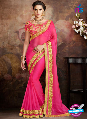 AZ 5233 Pink Pure Chiffon  Designer Wedding Wear Saree