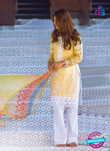 SC 14067 Yellow and White Cotton Satin Exclusive Fancy Designer Suit