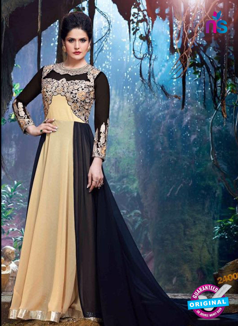 SC 12836 Black and Beige Semi Georgette Party Wear Designer Gawn