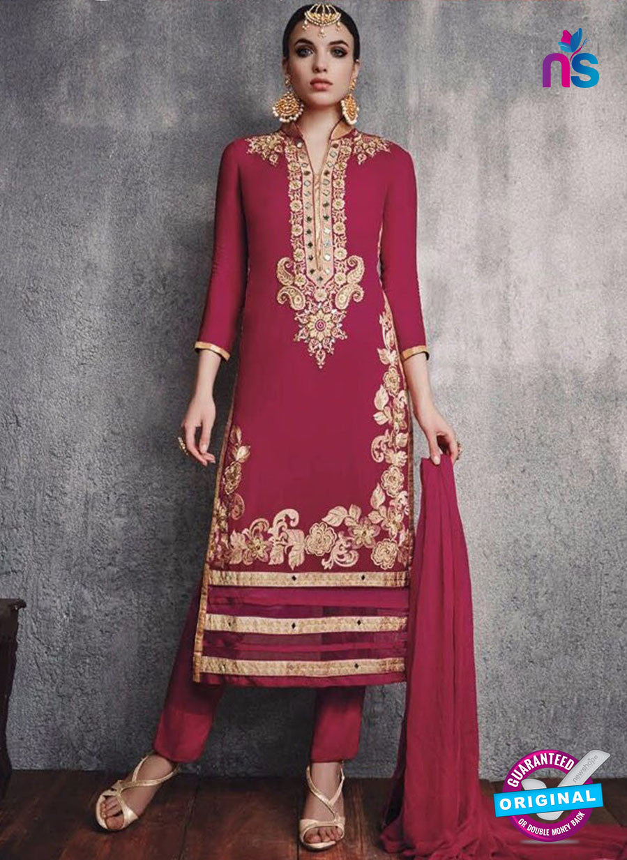 SC 13091 Magenta and Beige Embroidered Faux Georgette Party Wear Straight Designer Suit