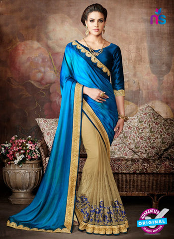 AZ 5234 Blue Silk And  Georgette  Designer Wedding Wear Saree
