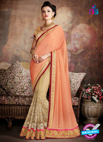 AZ 5235  Orange net  Designer Wedding Wear Saree