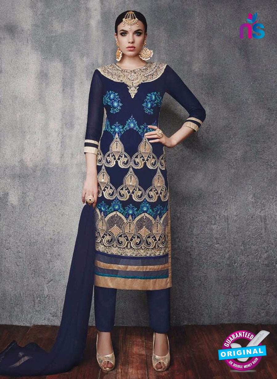 SC 13094 Blue and Beige Embroidered Faux Georgette Party Wear Straight Designer Suit