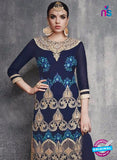 SC 13094 Blue and Beige Embroidered Faux Georgette Party Wear Straight Designer Suit Online
