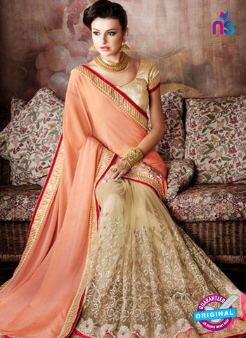orange net wedding wear saree