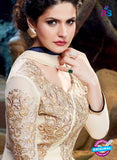 SC 12837 Beige and Black Semi Georgette Party Wear Designer Gawn