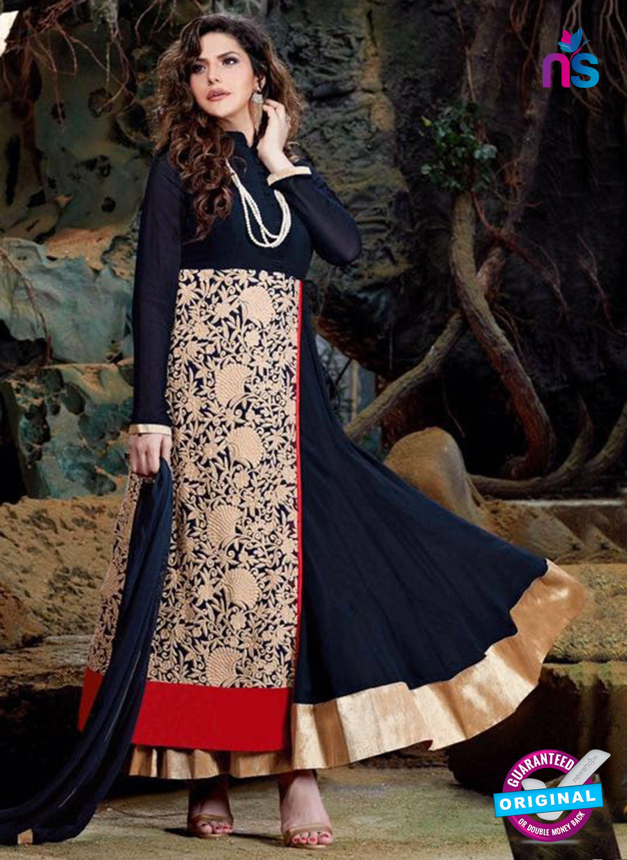 SC 12838 Blue, Red and Golden Semi Georgette Party Wear Designer Gawn