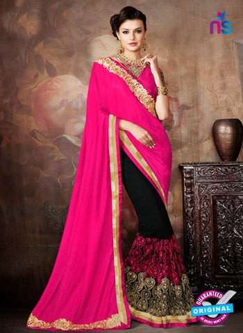 AZ 5236 Magenta And Black Silk And  Georgette  Designer Wedding Wear Saree
