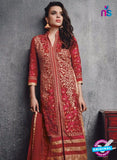 SC 13092 Red Embroidered Faux Georgette Party Wear Straight Designer Suit Online