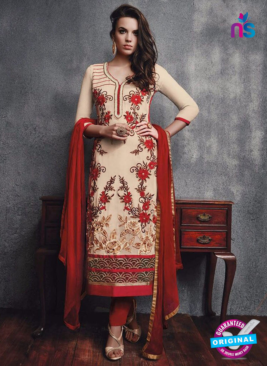 SC 13096 Beige and Red Embroidered Faux Georgette Party Wear Straight Designer Suit