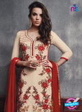 SC 13096 Beige and Red Embroidered Faux Georgette Party Wear Straight Designer Suit Online