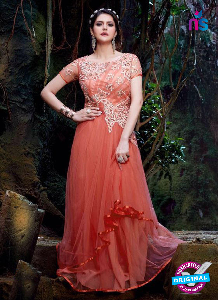 SC 12841 Peach Semi Georgette Party Wear Designer Gawn