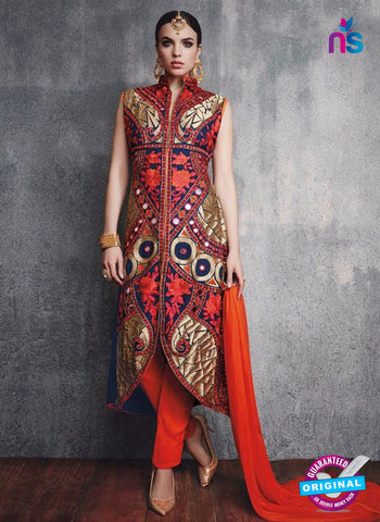 SC 13095 Multicolor and Red Embroidered Faux Georgette Party Wear Straight Designer Suit