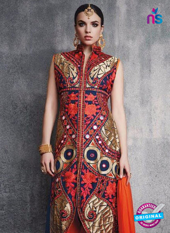 SC 13095 Multicolor and Red Embroidered Faux Georgette Party Wear Straight Designer Suit Online