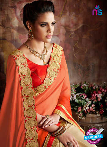 Orange Georgette Wedding Saree