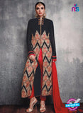 SC 13090 Black and Red Embroidered Faux Georgette Party Wear Straight Designer Suit