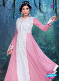 SC 12835 Pink and White Semi Georgette Party Wear Designer Gawn