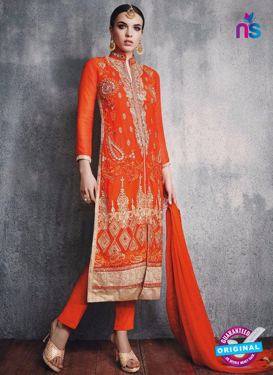 SC 13093 Orange and Beige Embroidered Faux Georgette Party Wear Straight Designer Suit